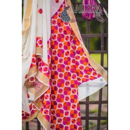 PHULKARI-ETERNAL WHITE/MAGENTA AND ORANGE