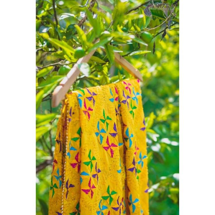 PHULKARI SUNFLOWER YELLOW Hand Embroidered Phulkari